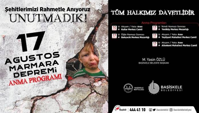 17 Ağustos Deprem Şehitlerimiz Başiskele'de Anılacak